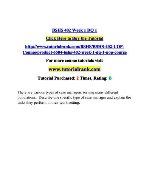 BSHS 402 Potential Instructors / tutorialrank.com