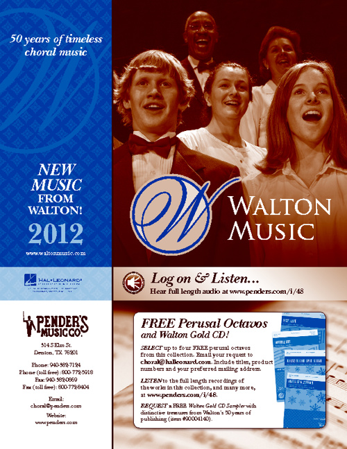 New Walton Choral Sheet Music for 2012 | Pender's Music Co.