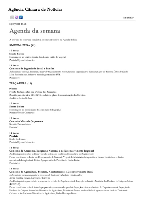 Agenda Congresso 11 a 15/07/2011