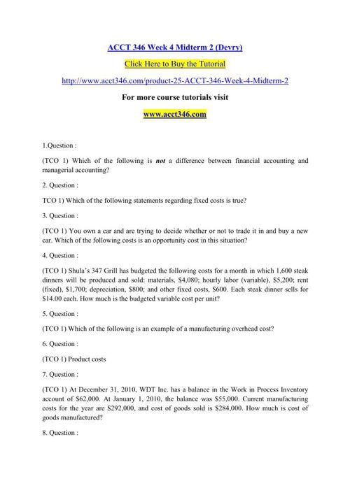ACCT 346 Week 4 Midterm 2 (Devry)