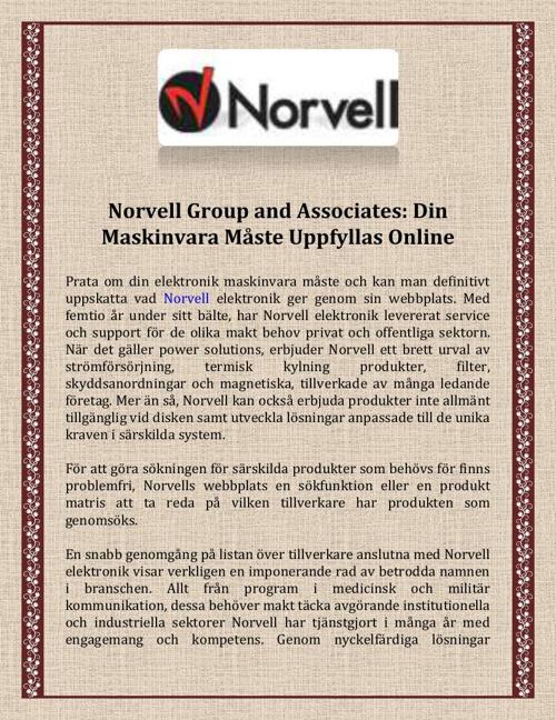 Norvell Group and Associates - Din Maskinvara Måste
