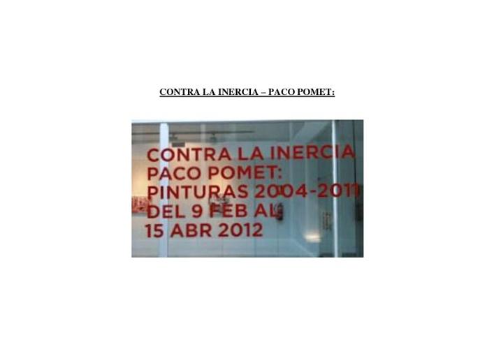CONTRA LA INERCIA, PACO POMET