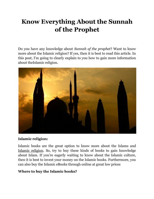 Know Everything About the Sunnah of the Prophet