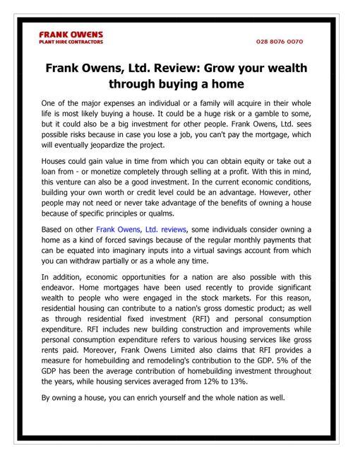 Frank Owens, Ltd. Review