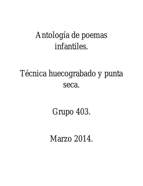 Antología de poemas infantiles 1