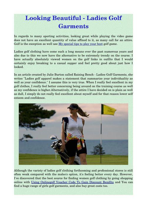Looking Beautiful - Ladies Golf Garments