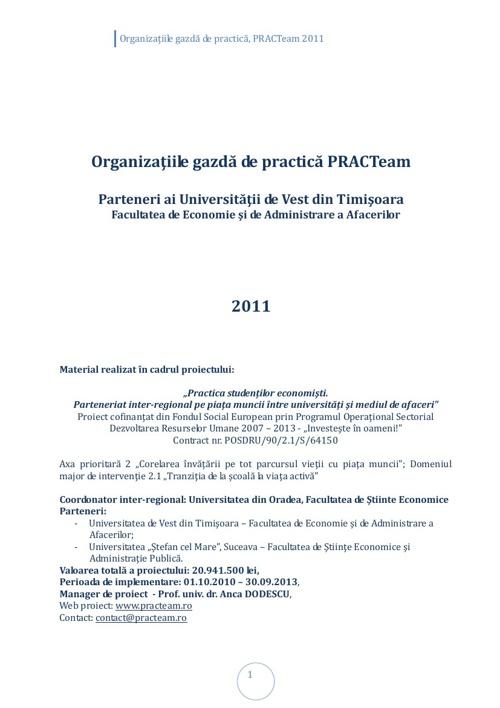 PRACTeam - Volum prezentare Organizaţii gazdă Timișoara, 2011