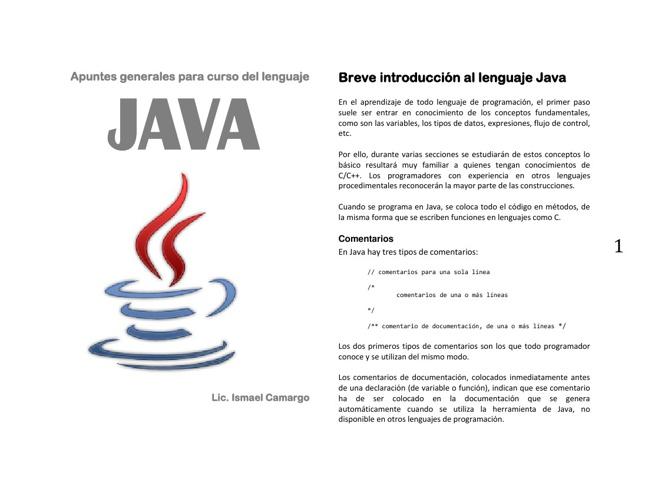 Apuntes de Java 2013 Por: Ismael Camargo