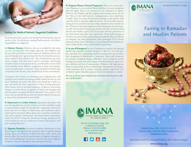Health Aspect: Fasting in Ramadan