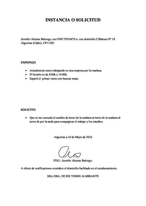 SOLICITUD Y DENUNCIA DEL EJERCICIO DEL EXAMEN