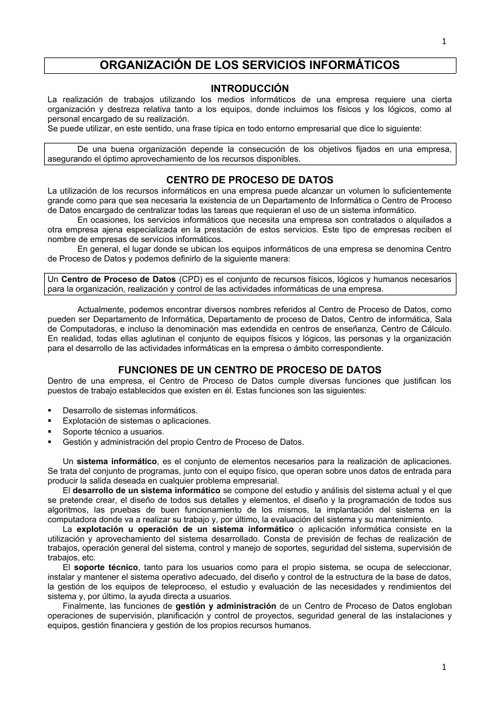 ORGANIZACIÓN DE LOS SERVICIOS INFORMÁTICOS