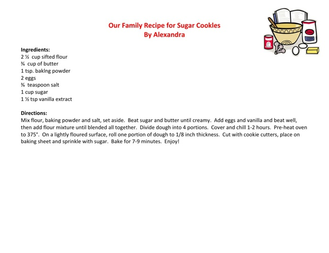 Our Family Recipes, Written by Dryden 1st-2nd Grade Students