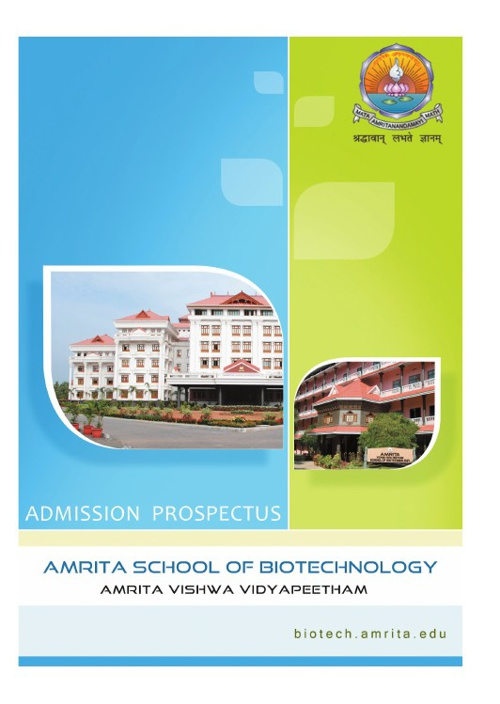 AMRITA SCHOOL OF BIOTECHNOLOGY | ADMISSIONS