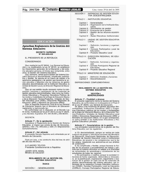 DecSupN009-2005-ED- Reglamento de la Gestión del Sistema Educati