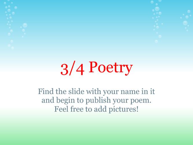 3/4 Poetry Flipbook