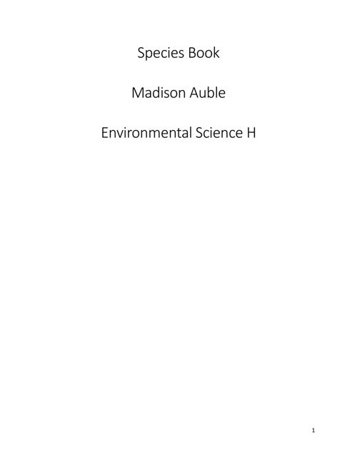 Madison Auble - Species Book