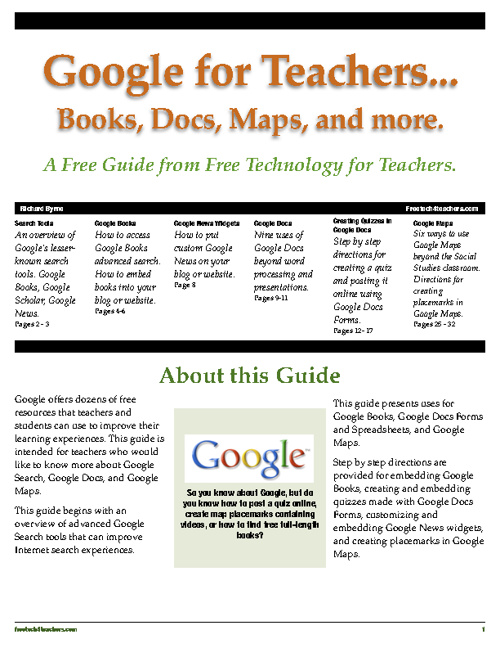 Google Guide for Teachers from Free Technology for Teachers
