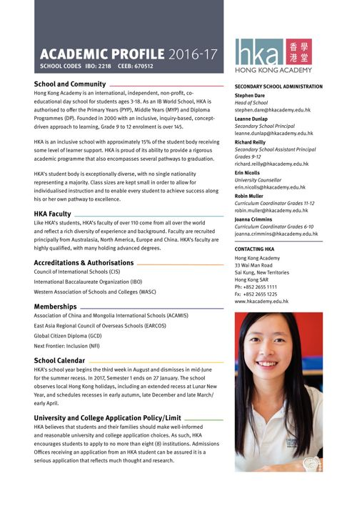 HKA Academic Profile 2016-17