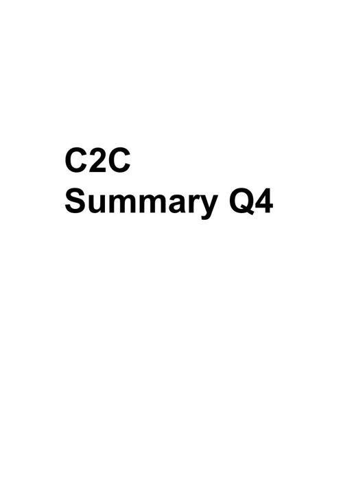 C2C Q4 Summary
