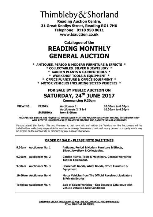 General Auction Catalogue - 24th June 2017