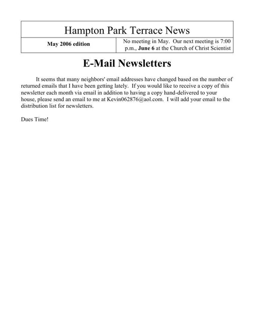 HPT Newsletter May 2006