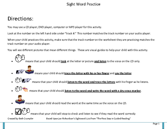 Sight Word Acquisition Book