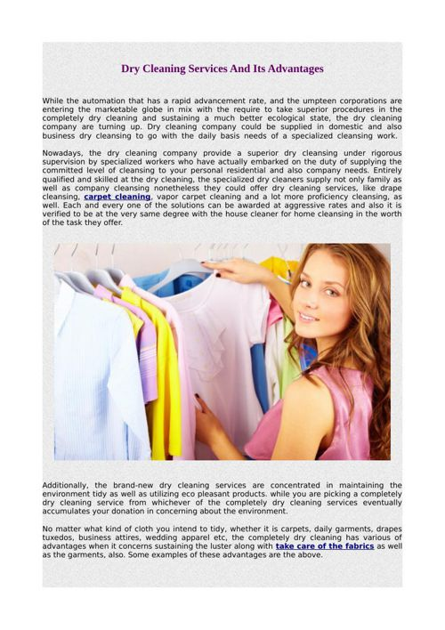 Dry Cleaning Services And Its Advantages