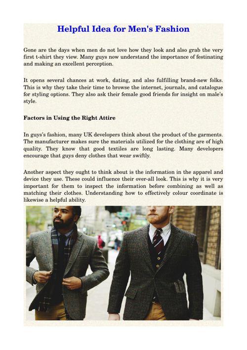Helpful Idea for Men's Fashion