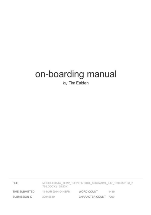 SDS on-boarding manual