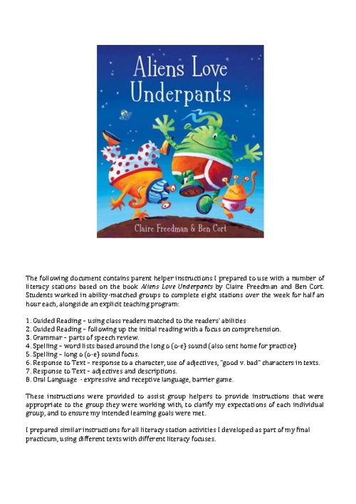 Aliens Love Underpants Differentiated Instructions