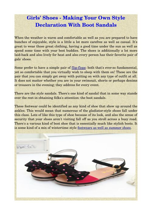 Girls' Shoes - Making Your Own Style Declaration With Boot Sanda