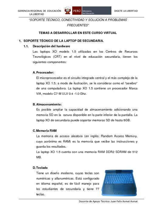MANUAL PARA EL SOPORTE TÉCNICO DE LA XO SECUNDARIA