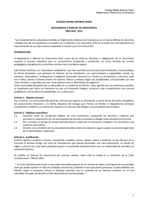 Manual de Convivencia - Colcerini - 2012