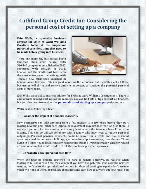 Cathford Group Credit Inc: Considering the personal cost of sett