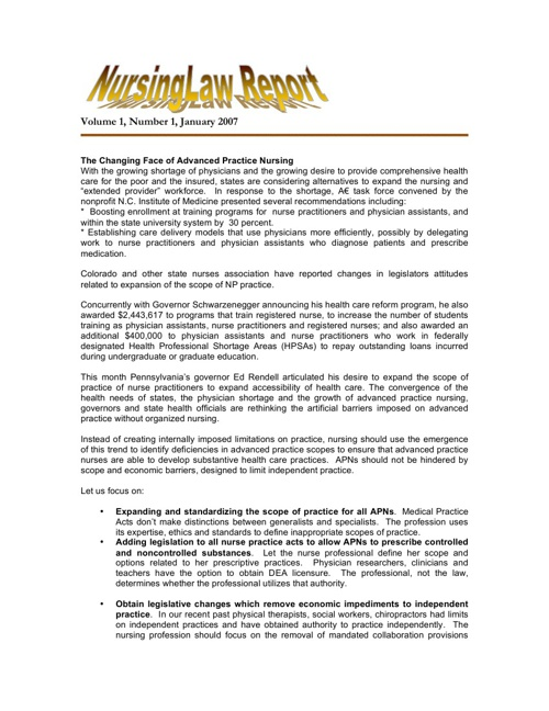 Nursing Law Report