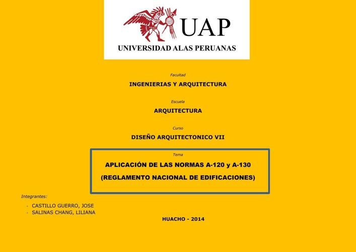 APLICACION DE LA NORMAS A-120 y A-130