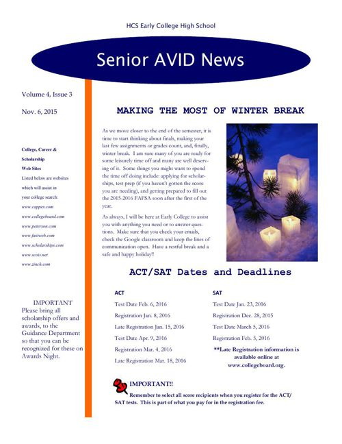 Senior Avid Newsletter #3 2015