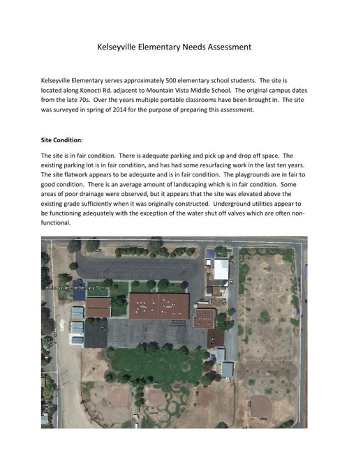 Notes on Kelseyville Elementary Aug