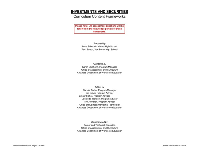 Investments and Securities