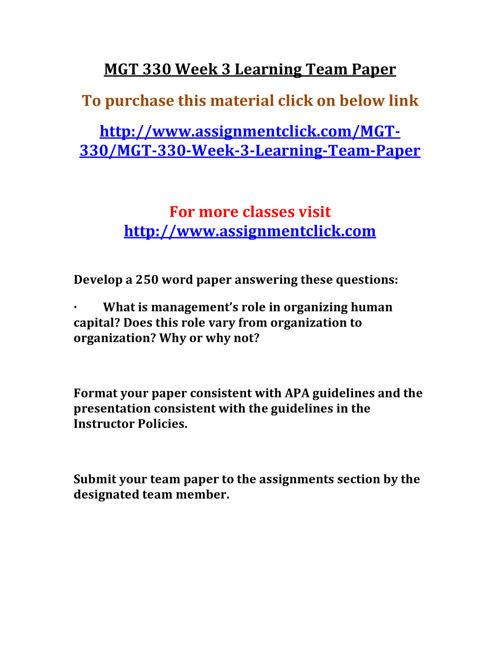 UOP MGT 330 Week 3 Learning Team Paper