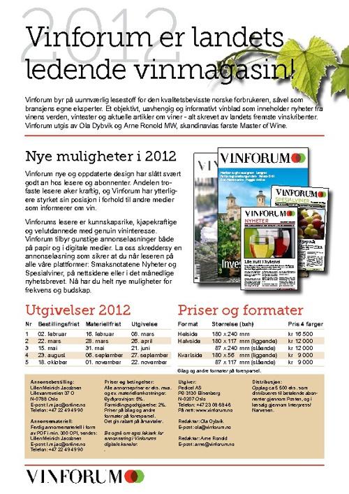 Vinforum mediainformasjon 2012