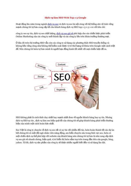 Dịch vụ làm SEO Web Top 1