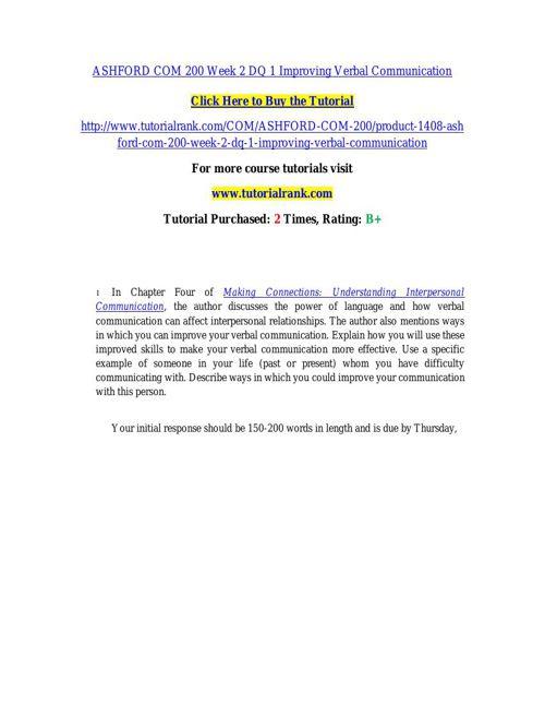 COM 200 learning consultant / tutorialrank.com