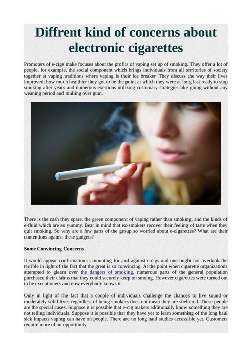 Diffrent kind of concerns about electronic cigarettes