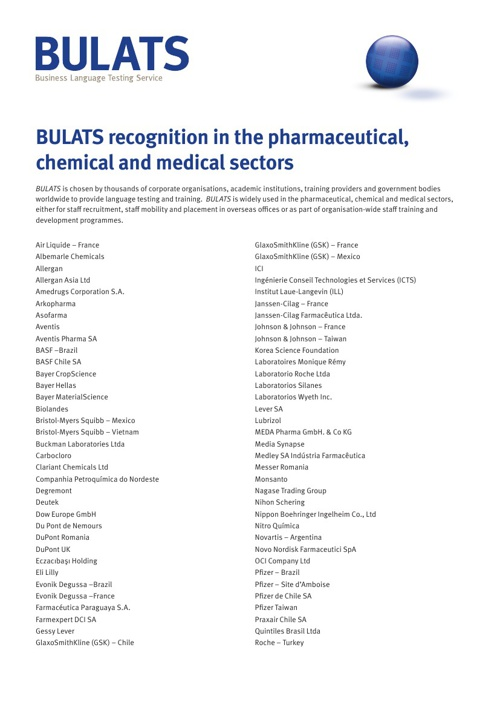 BULATS Pharmaceutical Chemical Medical Sectors