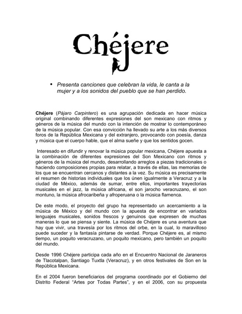 Chejere Electronic Press Kit (EPK)