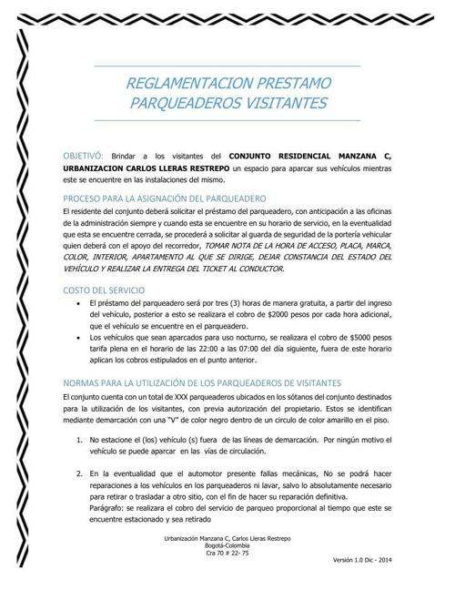 REGLAMENTACION PRESTAMO PARQUEADEROS VISITANTES