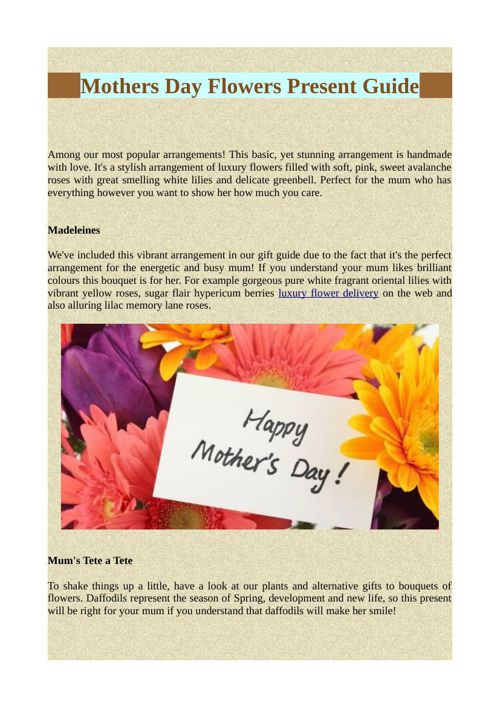 Mothers Day Flowers Present Guide