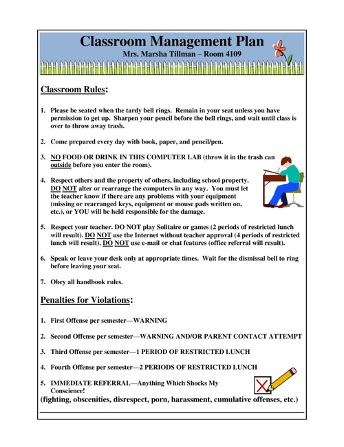 Mrs. Tillman's Classroom Management Plan