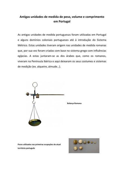 Sistema de Medidas no Portugal Medieval
